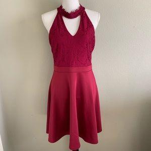 Francesca's Fit Flare Lace Combo Dress